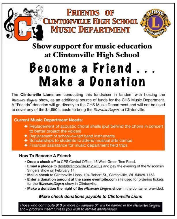 Friends of Clintonville High School Music Department